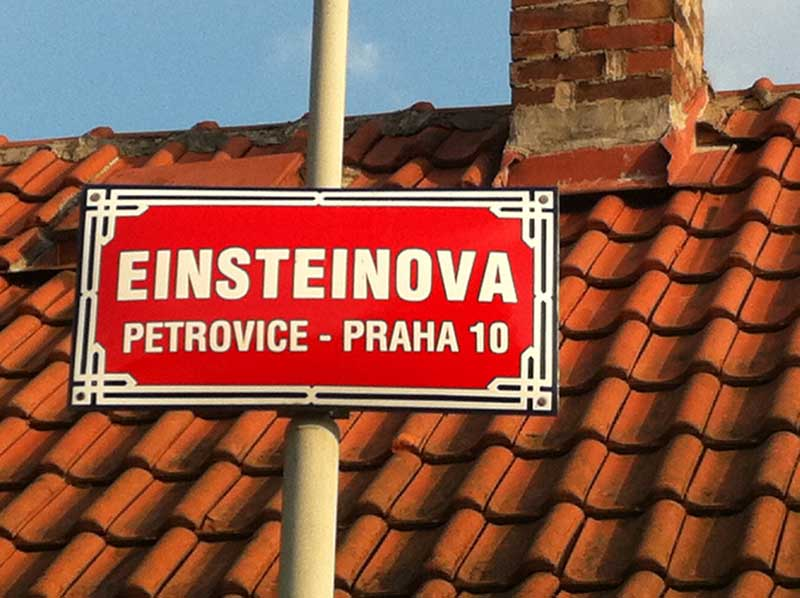Sign on Einsteinova Street.