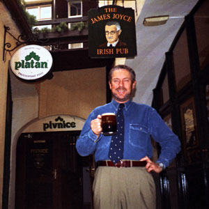 Frank Haughton at the first genuine Irish pub in the Czech Republic 18 years ago