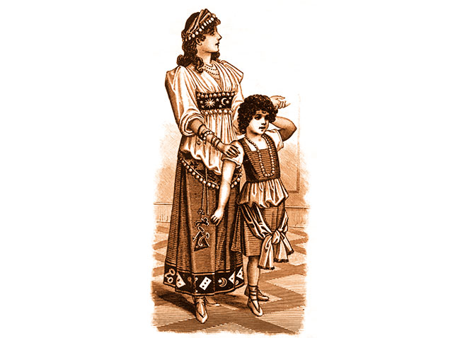 Roma mother and child in old illustration