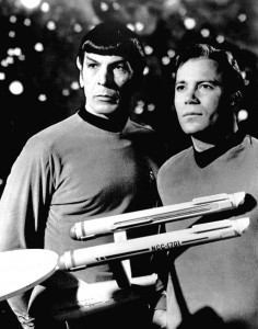 Publicity photo of Leonard Nimoy and William Shatner as Mr. Spock and Captain Kirk from the television program Star Trek